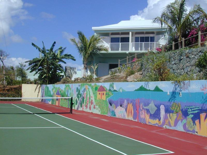 the hand-painted mural by local high school students (as seen in the St. Thomas Daily News)