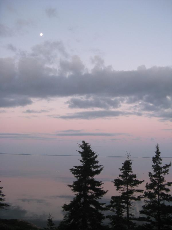 Early morning moon setting in July