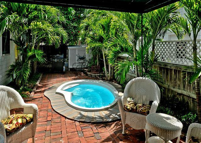 Furnished and Tropically Landscaped, Private Hot Tub With Brick Paver Patio Area