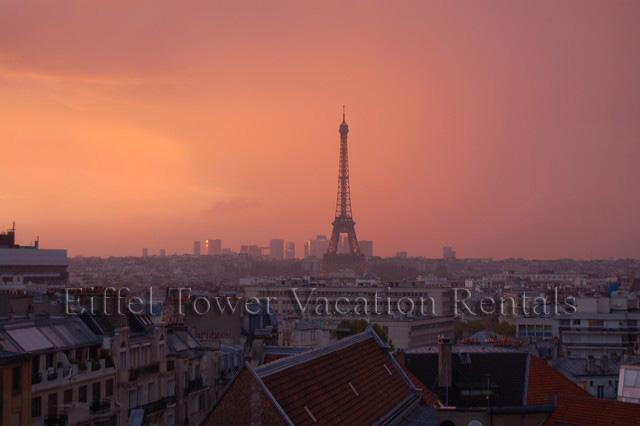 Eiffel Tower during a sunset from the apartment