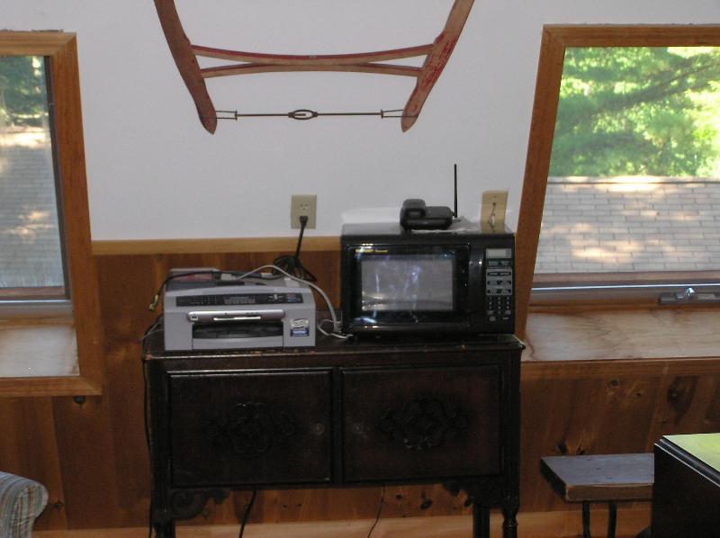A Microwave & AIO Printer. Wi-Fi Acess Here Too.