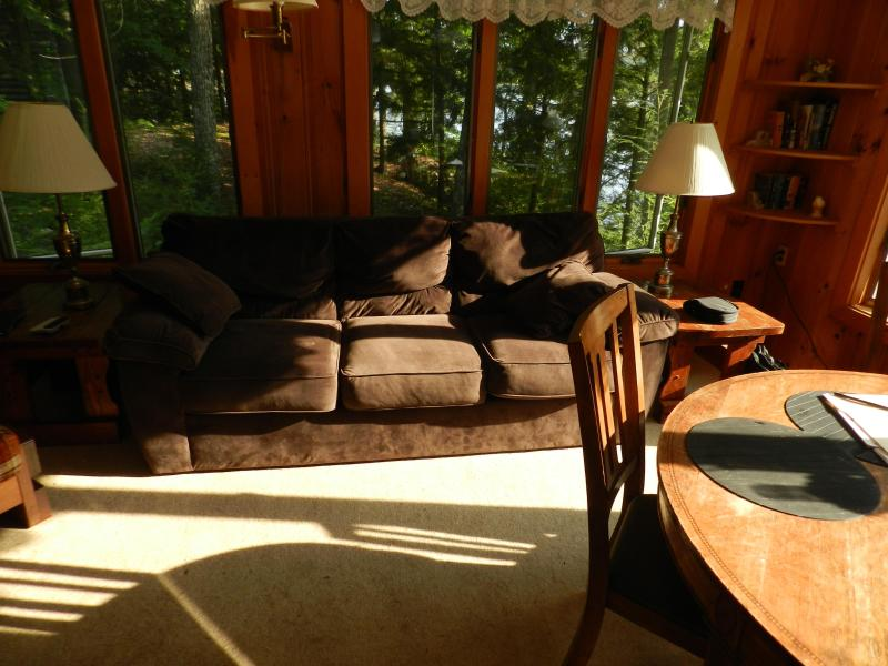 Sun room showing queen size sleep sofa for 2.
