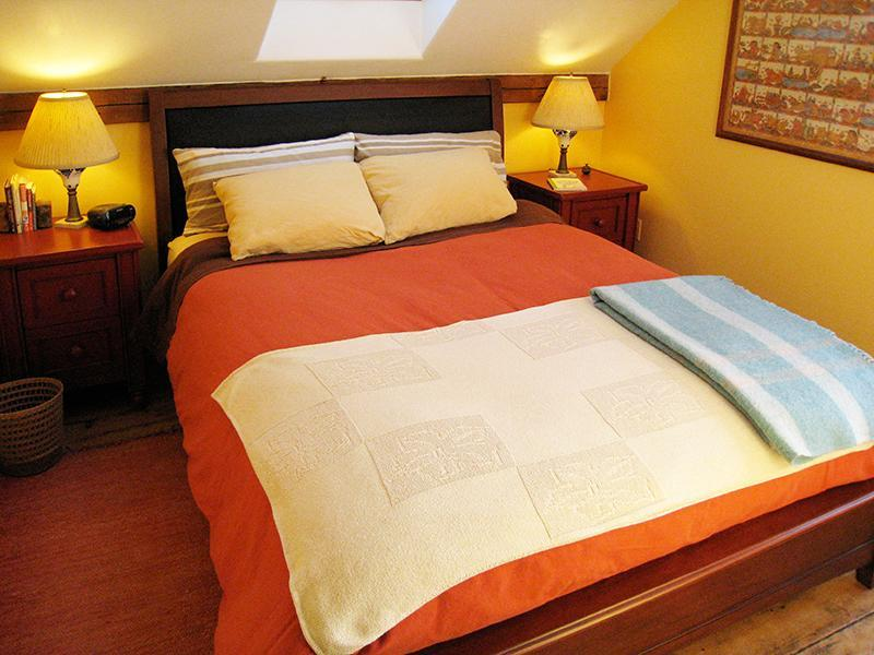 Master Bedroom with Queen Bed and Skylight above the bed for stargazing.