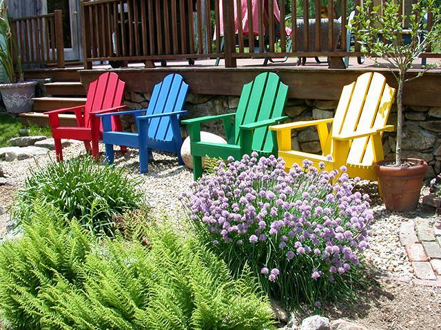 Numerous Adirondack Chairs for Viewing the Scenery all over the property in-season