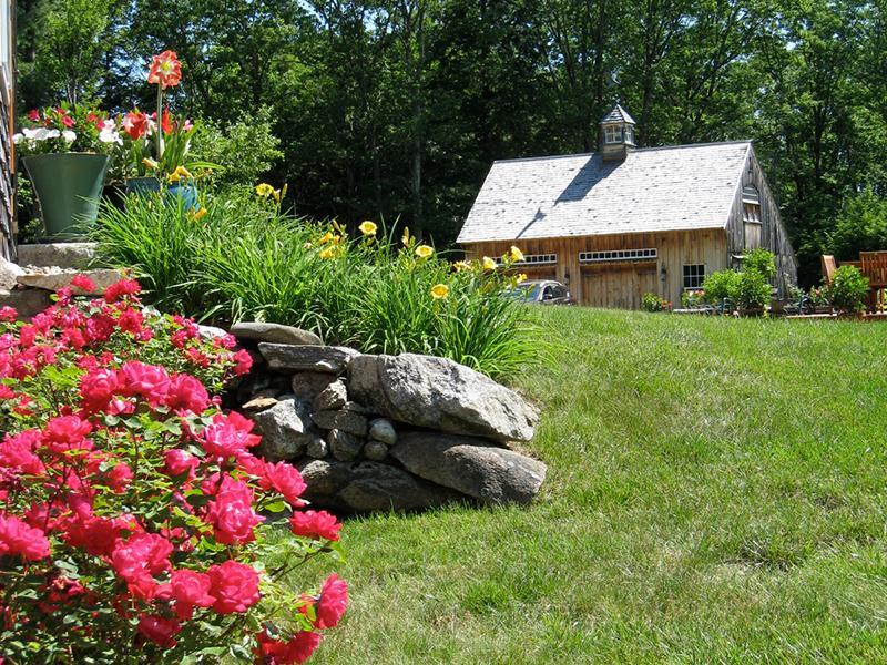 The Carriage House from the Barn Rose Garden