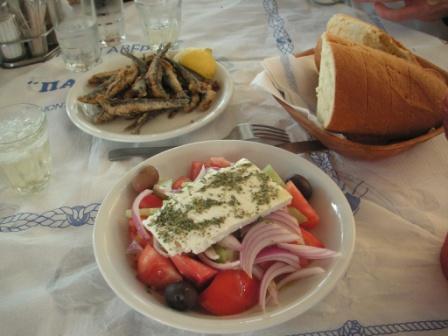 Typical Skiathos Lunch - Gavros & Greek Salad