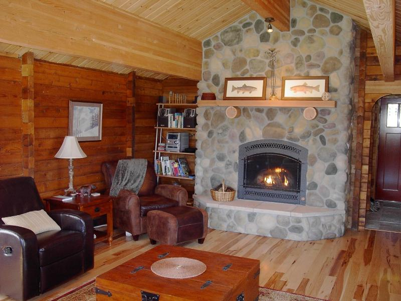 Cozy living room with gas fireplace.