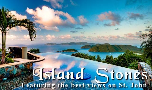 Views over the pool to Cinnamon Bay and the BVI