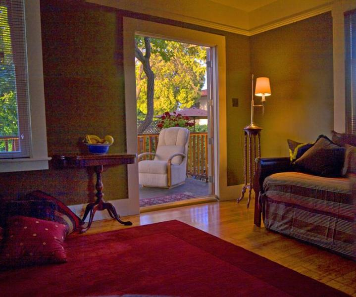 Looking out living room toward patio