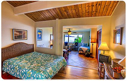 Beautifully renovated Bedroom with ocean view and private bath.