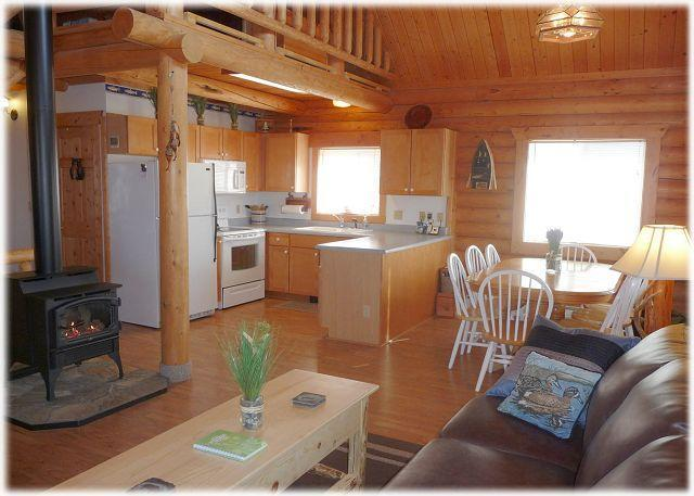 The living area at the Log Home