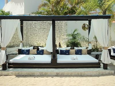 Luxurious sunbeds at VIP Pool