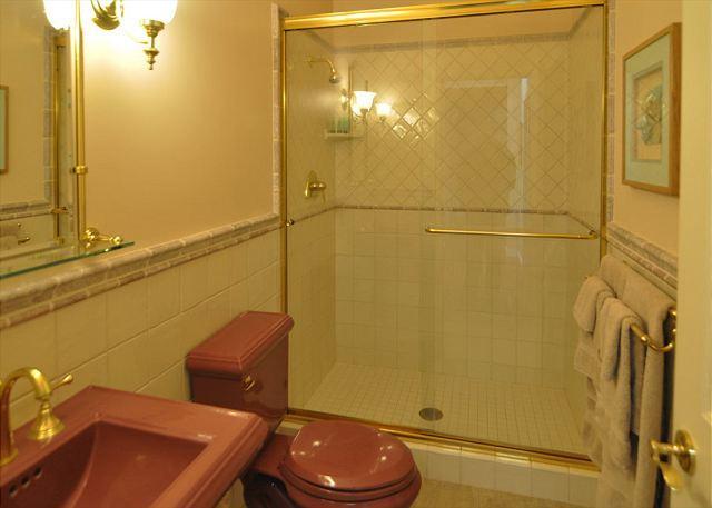 A double wide walk in shower.