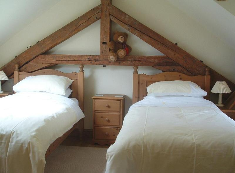 twin bedroom with ancient truss