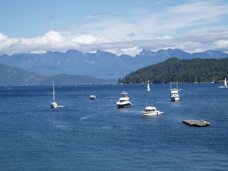 View of Keats Island and Coast Mountains from the village