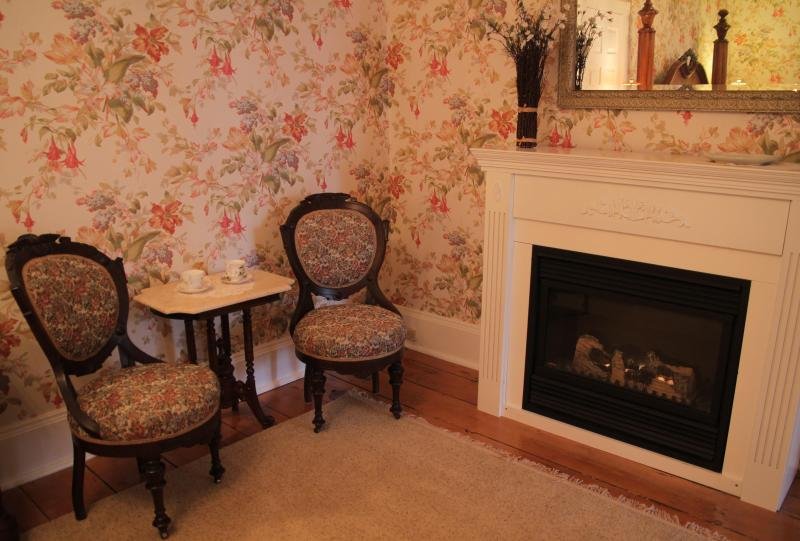 Sitting area and fireplace in King Bedroom