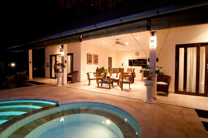 night view of the terrace and living room