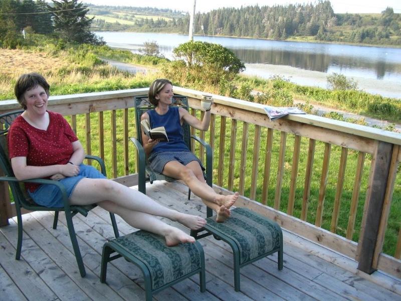 Relaxing onthe deck