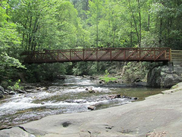 Foot bridge at nearby Firescreek State Park .