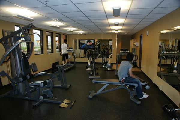 Ejercicios de gimnasio y sala de vapor
