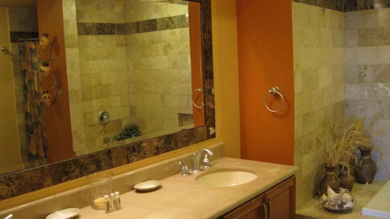 The master bath has dual his and her sinks, bath tub, and a large natural stone stall shower.