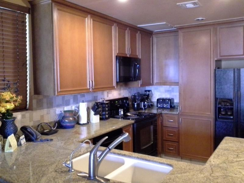 Fully equipped granite kitchen, filtered water system, microwave, side-by-side refrigerator