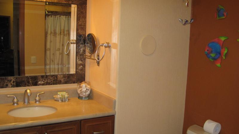 The 2nd bath room also has stone and marble counters and shower stall.