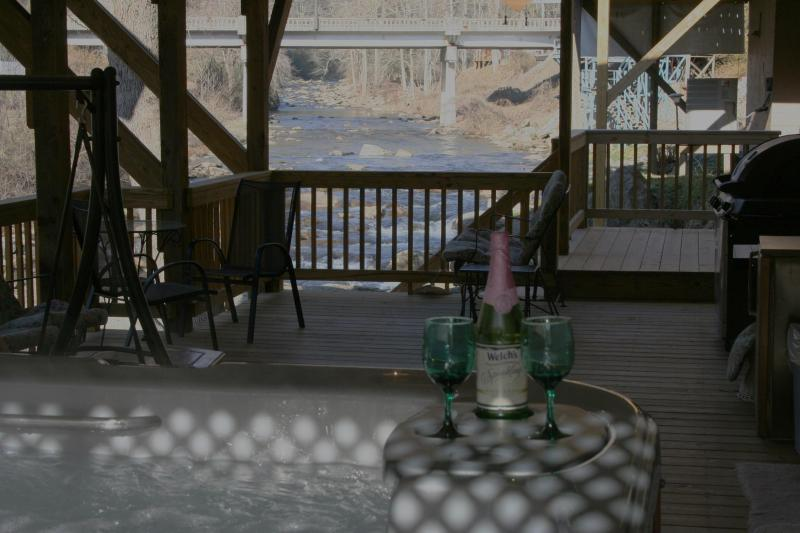 Private 6 Person HOT TUB on 16x40\' Deck Looking 1/4 Mile Up River Dec has 3 Ceiling Fans