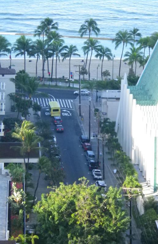 Short 1 Block walk to the sand of Waikiki Beach! (photo shot from our lanai)