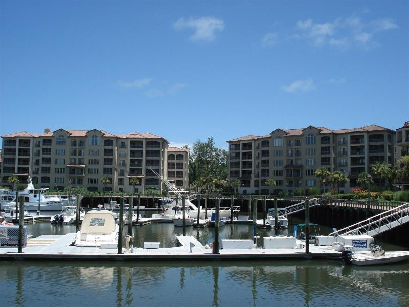 View of our Building; the Marina Harbor Area, Restaurants, and Shops