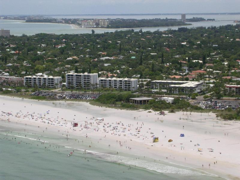 Aerial View - our condo is in the leftmost building, closest to the beach.