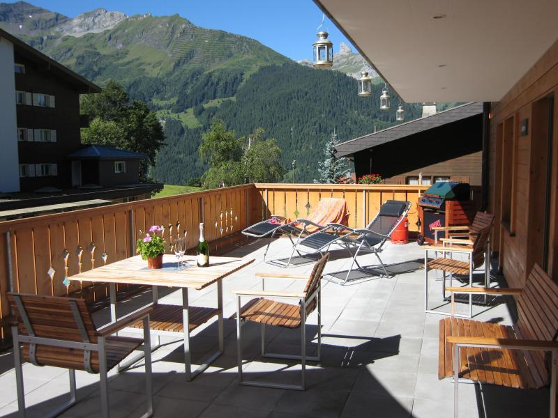 View across terrace, looking west