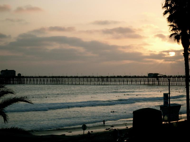 This is the view of the pier from the sand in front of our building.
