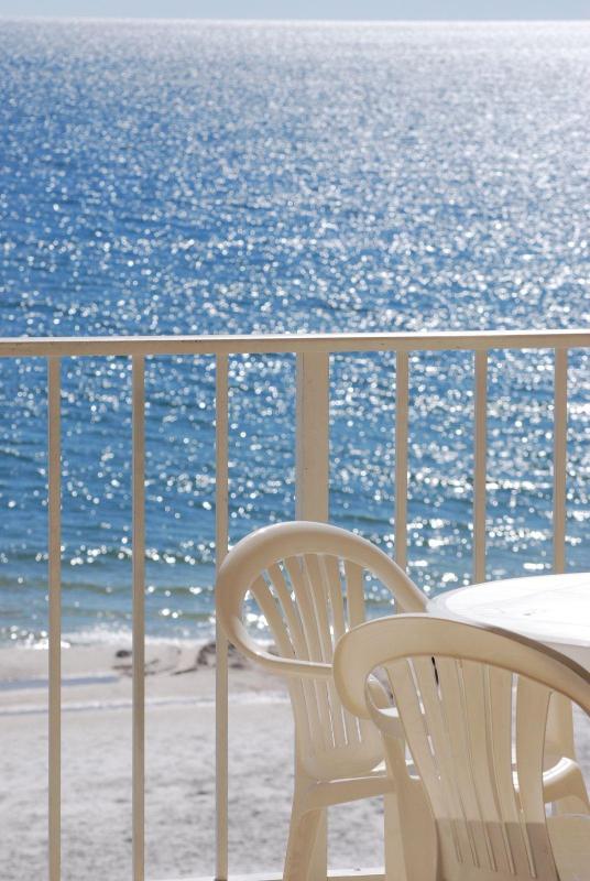 Sun sparkles on the ocean.