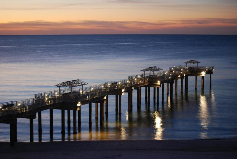 View of pier at dawn