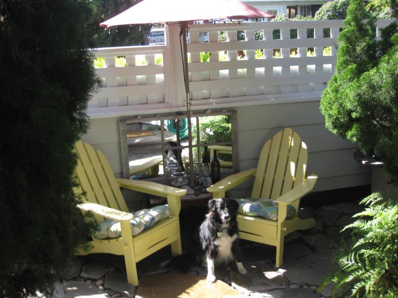 Cottage Guest Studio Patio... Yes, we're pet friendly.