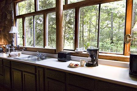 Sun dappled kitchen in the afternoon