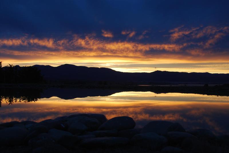 pond sunset reflections
