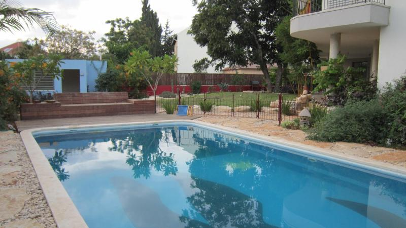 Totally private pool shared with the owner family only. Yours alone  9 am - 2 pm.  (can be changed)