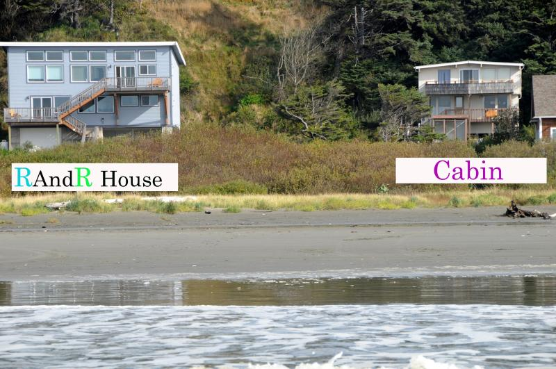R&R House & Cabin right on the beach.  Groups of up to 34, or just a weekend getaway for two!