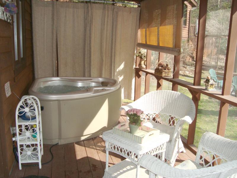 Bañera de hidromasaje para 2 en la cubierta trasera con las cortinas de privacidad
