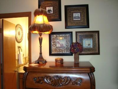 Master Suite has delightful art work and lamps
