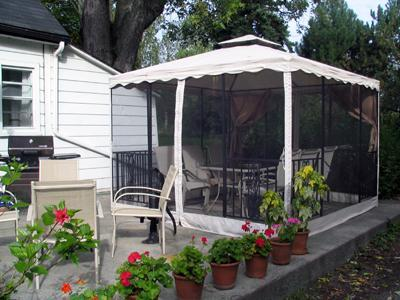 Patio with dining gazebo and natural gas grill