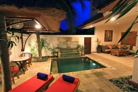 As you enter into the villa in the evening