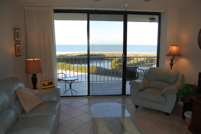 Living room with Gulf of Mexico views