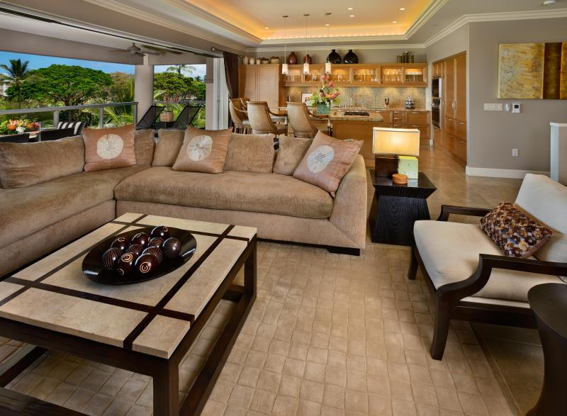 Hoku at Ho'olei - spacious and comfortable living area with open floor plan and Kreiss furnishings