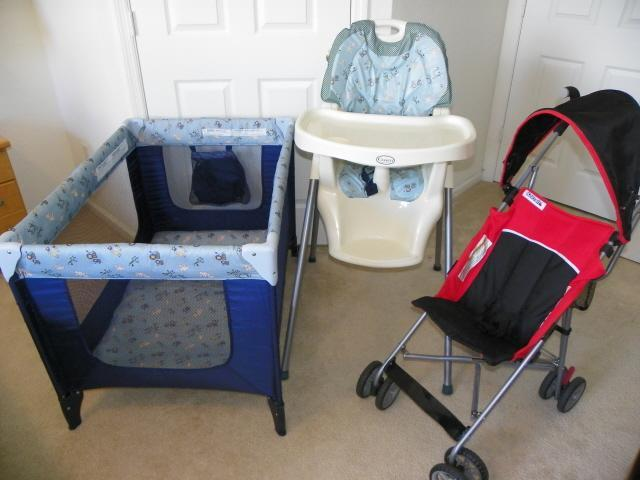 PAK N PLAY, HIGH CHAIR AND STROLLER AT NO ADDITIONAL COST