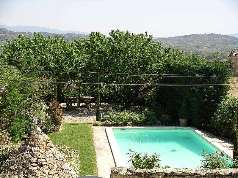 This is the view from the house of the private pool and garden area.