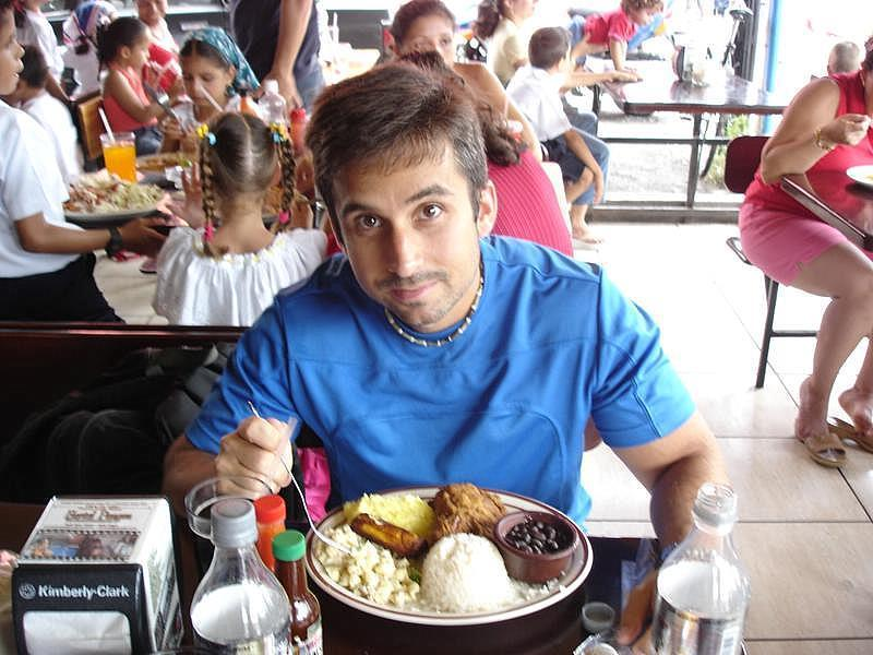 My Son enjoying the Typical Food of Costa Rica