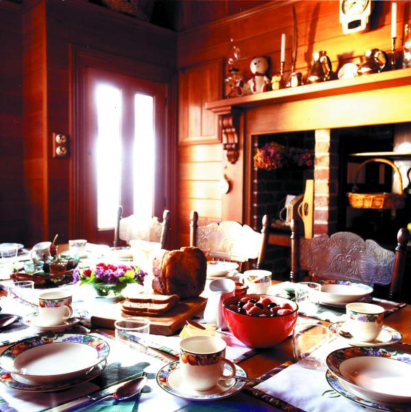 Dining room with Breakfast around the farmhouse table